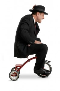 happy businessman tricycle